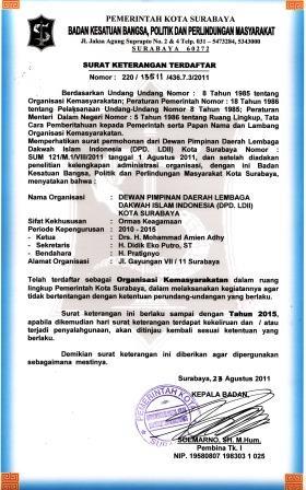 Bukti Legalitas LDII Dari Bakesbang Kota Surabaya