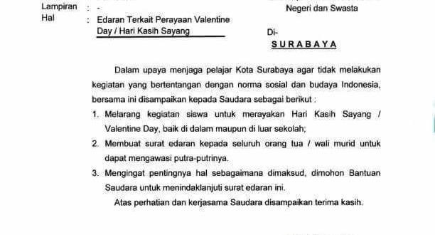 Larangan Perayaan Valentine Day Bagi Pelajar